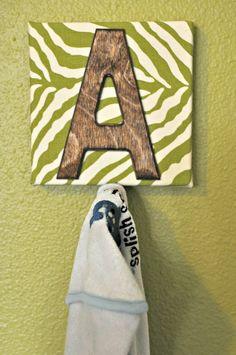DIY Monogrammed Bath Towel Hooks {Kayla Danelle}