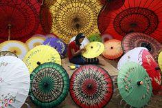 Painting umbrella in Pathein, the Ayeyarwaddy province of Myanmar's delta region