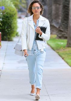 Jessica Alba Takes a Casual Stroll in Silver Kate Spade Flats Before Her 34th Birthday