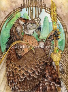"""""""Gryphon Guard"""" - An anthro raptor, royal guard to the Empress,  Watercolor and colored pencil on Bristol paper. 2004"""