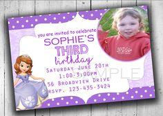 Sofia the First Invitation Printable by PartyPrintableInvite Birthday Party Invitations, Birthday Parties, Princess Sofia Birthday, Sofia The First, You Are Invited, Party Printables, The One, Rsvp, Kids