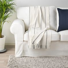 IKEA - STINAMAJ, Throw, white, dark gray, Cotton is a soft and easy-care natural material that you can machine wash. Scandinavian Pattern, Recycling Facility, White Couches, Common Area, Wingback Chair, Home Decor Items, Hygge, Dark Grey