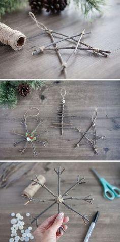 Rustic Twig Christmas Ornaments Diy Christmas Decorations, Yule Decorations, Ornaments Ideas, Diy Christmas Ornaments, Handmade Christmas, Rustic Christmas, Decoration Noel, Christmas Stars, Christmas Mood