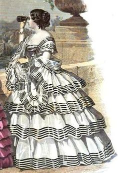 The Evolution of the Tiered Ruffle Gown – Threading Through Time 1850s Fashion, Edwardian Fashion, Vintage Fashion, Fashion Goth, French Fashion, Ladies Fashion, Vintage Outfits, Vintage Dresses, Historical Costume