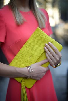 Chic bright yellow monogrammed foldover clutch from Gigi New York