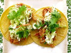 BBQ Chicken Tacos with Cilantro-Citrus Slaw.