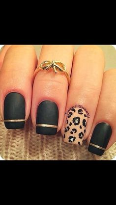 Leopard nails... really like the gold stripe accent.