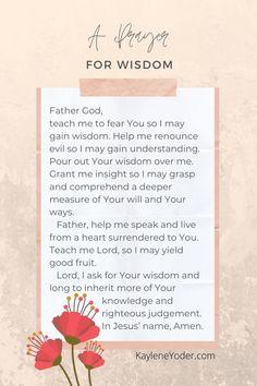 Prayer For Discernment, Prayer For Wisdom, Prayers Of Encouragement, Prayer For Peace, Prayer Scriptures, Bible Prayers, Power Of Prayer, Daily Prayer, Prayer Quotes
