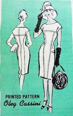 1960s ELEGANT Oleg Cassini Slim Dress Pattern PROMINENT DESIGNER M383 Elegant Sleek Princess Dress Bust 31 Vintage Sewing Pattern