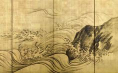 Detail. Japan Meiji Period (1868-1912), 19th century. Pair of six-panel folding screens with a dramatic design of ocean waves and rocks in ink on gold leaf.