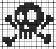 Skull And Crossbones Perler Bead Pattern / Bead Sprite Pony Bead Patterns, Kandi Patterns, Perler Patterns, Beading Patterns, Crochet Skull Patterns, Quilt Patterns, Cross Stitching, Cross Stitch Embroidery, Cross Stitch Designs