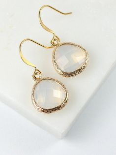 White Opal Quartz and Gold Framed Earrings by Theresa Rose Designs $12.00