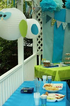 Love the blue and green. @Kristy  Christian cute owls out of the lanterns for E bday?