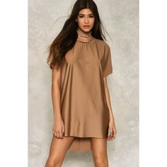 Nasty Gal Raven Tee Dress ($40) ❤ liked on Polyvore featuring dresses, taupe, mini dress, high low t shirt dress, t-shirt dresses, hi lo dress and tee shirt dress