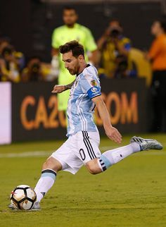 #COPA2016 #COPA100 Lionel Messi of Argentina takes a penalty kick to miss during the championship match between Argentina and Chile at MetLife Stadium as part of Copa...