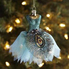Peacock Dress Glass Ornament