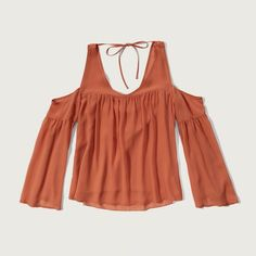 Abercrombie & Fitch Cold Shoulder Blouse (455 EGP) ❤ liked on Polyvore featuring tops, blouses, orange, draped blouse, cold shoulder tops, cut out shoulder tops, bell sleeve top and open shoulder blouse