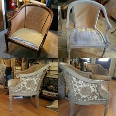 Love how these chairs came out. It's amazing the changes you can make with paint & new upholstery by Valley Upholstery and Design of Batavia! #restylechicago #reluxvintage #chippy #reupholstery #distressed https://www.instagram.com/p/BME1LCxhb37/
