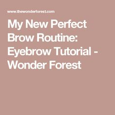 My New Perfect Brow Routine: Eyebrow Tutorial - Wonder Forest