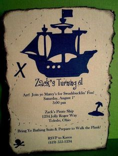 Pirate Party Invitation  Treasure Map by ScrapYourStory on Etsy, $2.50