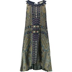 SEA Maya printed cotton and silk-blend crepon midi dress featuring polyvore, women's fashion, clothing, dresses, army green, loose fitted dresses, olive midi dress, slip dress, tie back dress and olive dress