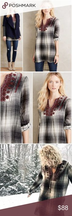 $168 ANTHROPOLOGIE Floreat Embroidered Plaid Tunic Floreat Embroidered Flannel Tunic in Grey Sz XS EUC Blogger favorite...! Anthropologie Tops Tunics