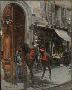 Giovanni Boldini Poster - The Dispatch Bearer Though this painting is not set in a golden frame, if you start a Fibbonaci spiral at the bottom right, it will pass through the horseman's eyes and then arc around to the horse and end on the man on the street.