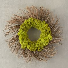 "A bright circlet of preserved reindeer moss anchors this hand-crafted wreath of rustic twigs.- Preserved reindeer moss, natural twigs - Indoor or sheltered outdoor use - For best longevity, handle gently and avoid direct sunlight or moisture- ImportedSmall: 2.25""D, 10"" diameterLarge: 4""D, 18.5"" diameter"