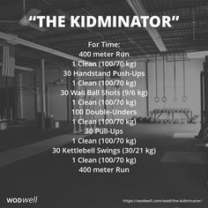 """A benchmark WOD by coach Facundo Cordeiro of ADN CrossFit. """"I liked the idea of combining simple exercises with relatively low repetitions so that unbroken can be achievable, with a relatively heavy exercise such as clean with 100Kg. First you get HSPUs and Wall Balls, both push exercises... In the final part you get two pull exercises, which tires the grip to make the last cleans more difficult. It has a """"buy in"""" and """"buy out"""" of 400m Run and 100 double-unders, giving it the cardio…"""