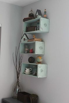 Old drawers turned into repurposed shelves. Redo Furniture, Decor, Diy Shelves, Diy Furniture, Drawer Shelves, Old Drawers, Sewing Machine Drawers, Repurposed Furniture, Drawers Repurposed