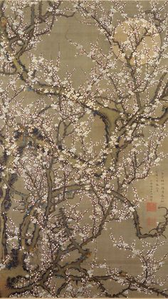 """in Ito Jakuchu's 1755 painting """"White Plum Blossoms and Moon,"""" molecular goes cosmic. The flowering tree is a galactic explosion, anticipating the eruptive art of visionary naturalists like Samuel Palmer and Charles Burchfield."""