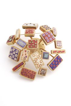 """""""Gold Square Spray Pin"""" polymer clay brooch created by #artists David Forlano  Steven Ford. Good example of the collaborative work of Steve Ford and David Forlano as each did half the clay designs in this brooch."""