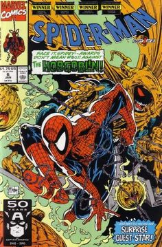 Spider-Man, Spider-Man, since Todd McFarlane started drawing him, he does whatever an impossible gymnast can...