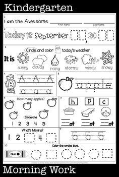 Kindergarten Morning Work, Kindergarten Reading Activities, Free Kindergarten Worksheets, Kindergarten Math Activities, Preschool Writing, Alphabet Worksheets, Preschool Learning, Kindergarten Classroom, Math Games