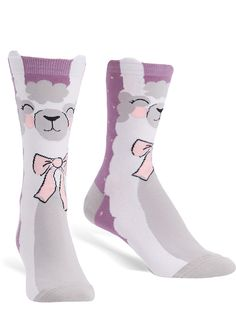 Llama socks for women feature adorable blushing llamas with pink neck-bows and ears that peek out over the top of the sock cuff! Llama Socks, Llama Llama Red Pajama, Cute Llama, Purple Socks, Blush On Cheeks, Red Pajamas, Sock Animals, Crazy Socks, Cute Plush