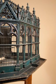 19th Century Birdcage in the Neo-Gothic Style | From a unique collection of antique and modern bird cages at http://www.1stdibs.com/furniture/more-furniture-collectibles/bird-cages/