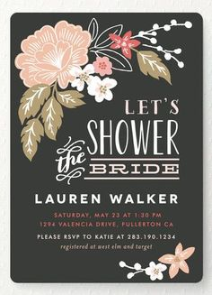 """Customizable """"Pressed Flowers"""" - Bridal Shower Invitations in MIdnight by Alethea and Ruth. Bridal Shower Planning, Bridal Shower Party, Bridal Shower Invitations, Wedding Stationery, Wedding Planning, Ideas For Bridal Shower, Bridal Showers, Invites, Shower Ideas"""
