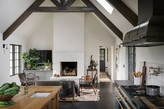 tile fireplace surround Estilo Tudor, Two Sided Fireplace, Tile Fireplace, Fireplace Seating, Portland, Interior Design Photography, Living Spaces, Living Room, Modern Country