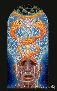 victoriousvocabulary:  EMPYREAN [noun] 1. the highest heaven, supposed by the ancients to contain the pure element of fire. 2. the visible heavens; the firmament. Etymology: from Mediaeval Latin empyreus, from Greek empuros - fiery, from pur - fire. [Alex Grey]