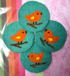 A Set of 4 Needle Felted Coasters Songbird by CollectingLife, $14.00