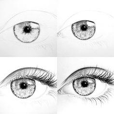 This is the process of one eye I've drawn  Proceso de uno de los ojos que he dibujado.