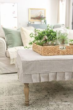 Pleated Ottoman Slipcover How-To - Sincerely, Marie Designs Farmhouse Living Rooms Diy Ottoman, Ottoman Slipcover, Ottoman Cover, Slipcovers, Ottoman Decor, Ottoman Furniture, Plywood Furniture, Living Room Update, My Living Room