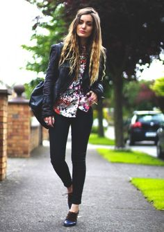 floral top + leather jacket.
