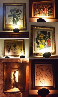 Picasso and Chagall paintings on the walls @ Colombe d'Or restaurant, St. Paul de Vence, France.