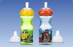 Cups and Spouts, Printed, Wheelz™ Sports Sippers. Your child will love the fun prints and bright colors of the Wheelz™ Sport Sippers from Nûby™.