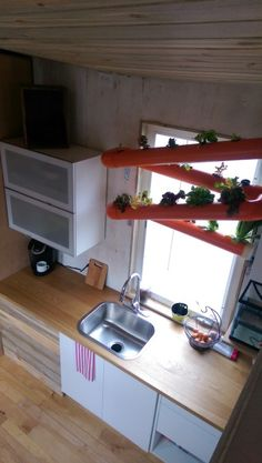 View of Kitchen From Above ...Kitchen with aquaponics / hydroponics system in the kitchen