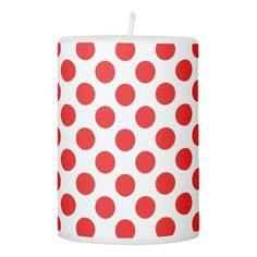 Red Polka Dots Pillar Candle