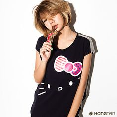 Hang Ten - 女裝 - 三麗鷗 -  Hello Kitty造型棉T(深藍)