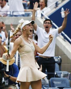 8/31/14 Caro Into QFs of U.S. Open. #10-Seed Caroline Wozniacki upsets #5-Seed Maria Sharapova 6-4, 2-6, 6-2 in their 4th rd match under cloud cover on Arthur Ashe Stadium. Caro returns to a Grand Slam QF for the 1st time in more than two years.