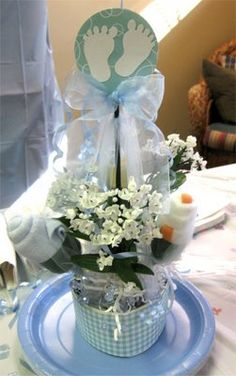 Baby shower center pieces using cuts from my cricut machine.